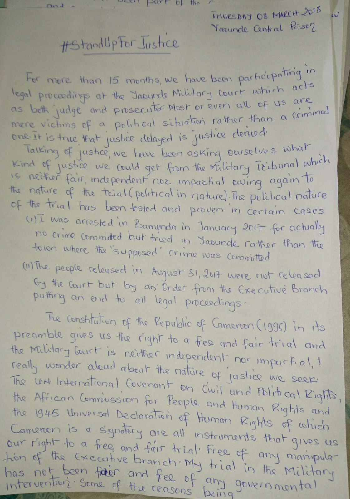 Penn Terrence's Kahn letter to court declaring the beginning of civil disobedience by ending voluntary participation in court hearings. Page 1